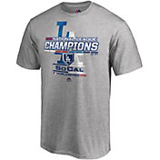 Majestic Men's 2018 NL Champions Locker Room Los Angeles Dodgers Grey T-Shirt