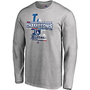 Majestic Men's 2018 NL Champions Locker Room Los Angeles Dodgers Grey Long Sleeve Shirt