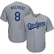 Majestic Men's Replica Los Angeles Dodgers Manny Machado #8 Cool Base Road Grey Jersey