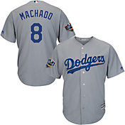 Majestic Men's 2018 World Series Replica Los Angeles Dodgers Manny Machado Cool Base Alternate Road Grey Jersey