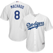 Majestic Men's Replica Los Angeles Dodgers Manny Machado #8 Cool Base Home White Jersey