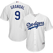 Majestic Men's Replica Los Angeles Dodgers Yasmani Grandal #9 Cool Base Home White Jersey