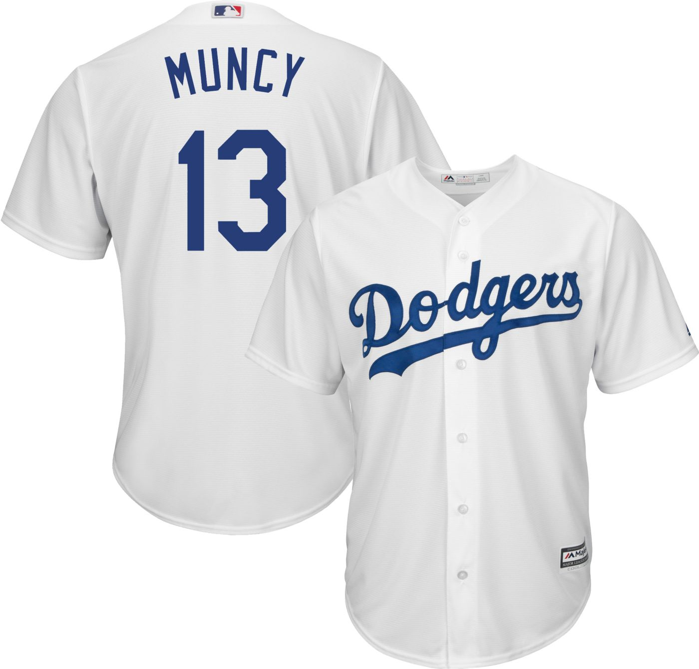 Majestic Men's Replica Los Angeles Dodgers Max Muncy #13 Cool Base Home White Jersey