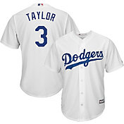 Majestic Men's Replica Los Angeles Dodgers Chris Taylor #3 Cool Base Home White Jersey