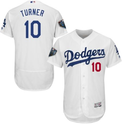 Majestic Men s 2018 World Series Authentic Los Angeles Dodgers Justin Turner  Flex Base Home White On-Field Jersey 5695fd826d4
