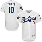 Majestic Men's 2018 World Series Authentic Los Angeles Dodgers Justin Turner Flex Base Home White On-Field Jersey