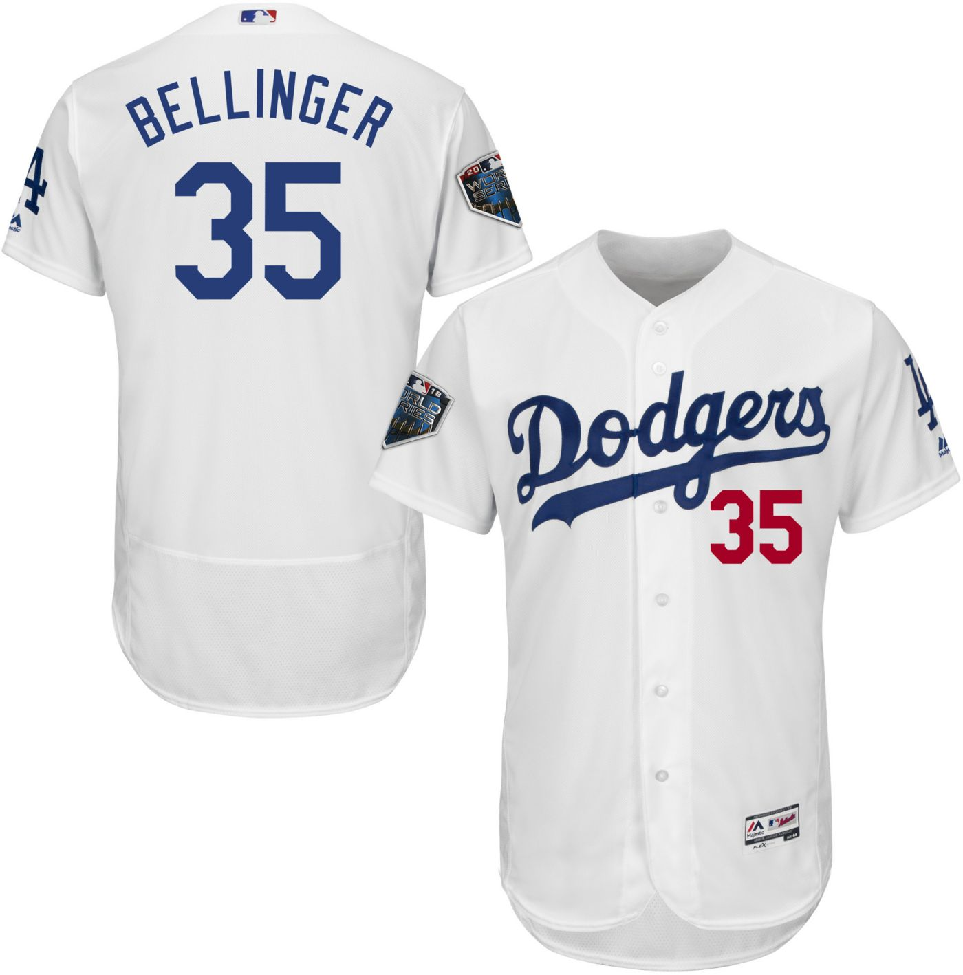 Majestic Men's 2018 World Series Authentic Los Angeles Dodgers Cody Bellinger Flex Base Home White On-Field Jersey
