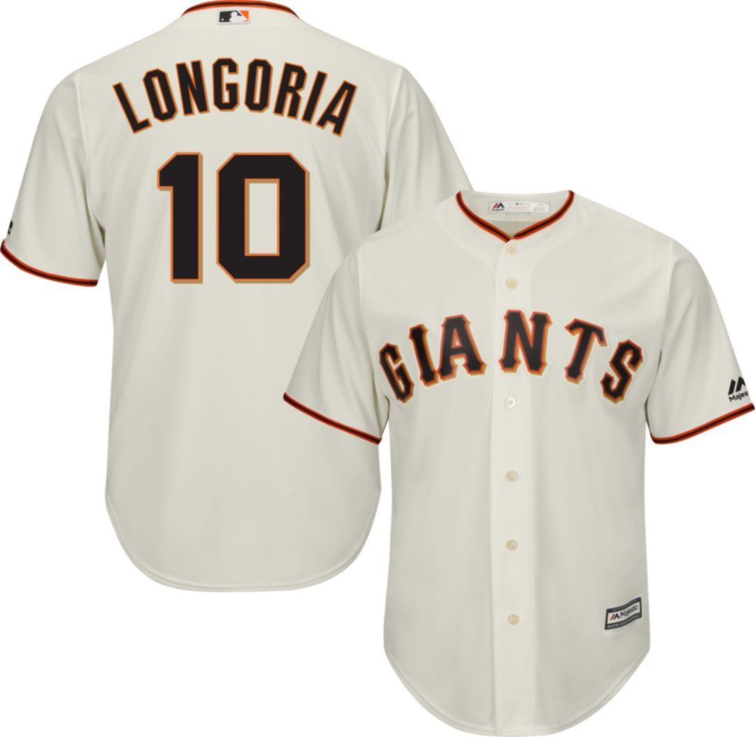free shipping 54662 35ddb Majestic Men's Replica San Francisco Giants Evan Longoria #10 Cool Base  Home Ivory Jersey
