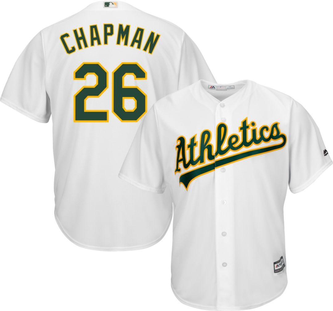 new styles cf75d 45c53 Majestic Men's Replica Oakland Athletics Matt Chapman #26 Cool Base Home  White Jersey