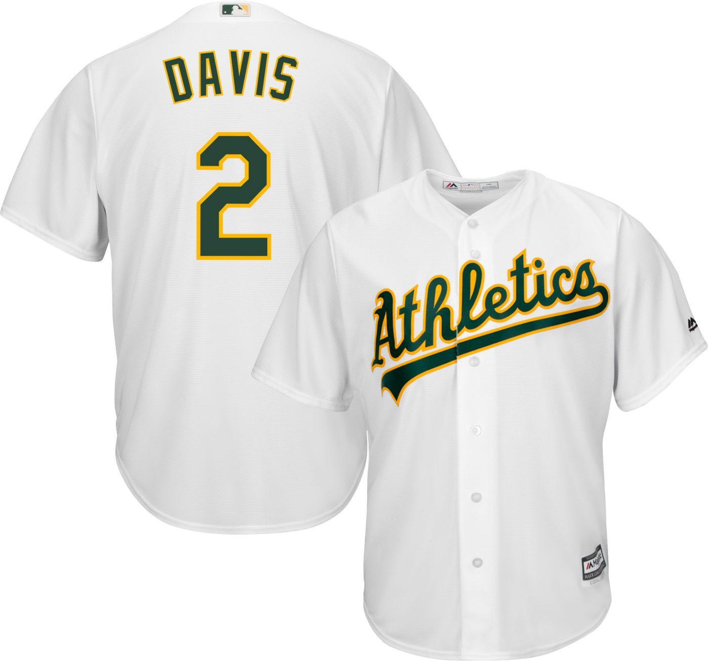 Majestic Men's Replica Oakland Athletics Khris Davis #2 Cool Base Home White Jersey