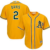 Majestic Men's Replica Oakland Athletics Khris Davis #2 Cool Base Alternate Gold Jersey