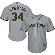 Majestic Men's Replica New York Mets Noah Syndergaard #34 Cool Base Road Grey 2018 Memorial Day Jersey