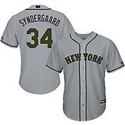 Majestic Men's Replica New York Mets Noah Syndergaard #34 Cool Base Road Grey 2018 Memorial Day Jersey