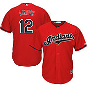Majestic Men's Replica Cleveland Indians Francisco Lindor #12 Cool Base Alternate Red Jersey