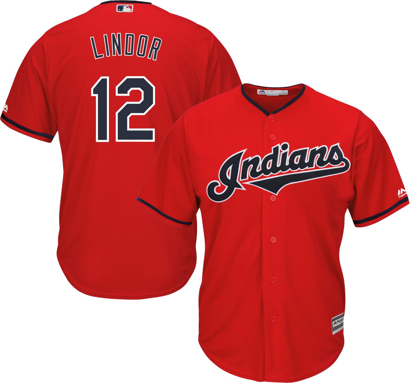 Majestic Men's Replica Cleveland Indians Francisco Lindor #12 Cool Base Alternate Red Jersey