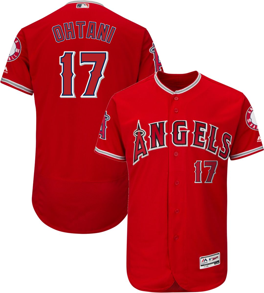 promo code c1330 9cffb Majestic Men's Authentic Los Angeles Angels Shohei Ohtani #17 Flex Base  Alternate Red On-Field Jersey