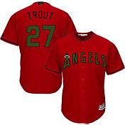 Majestic Men's Replica Los Angeles Angels Mike Trout #27 Cool Base Alternate Red 2018 Memorial Day Jersey
