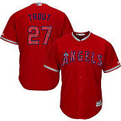 Majestic Men's Replica Los Angeles Angels Mike Trout #27 Cool Base Alternate Red 2018 4th of July Jersey