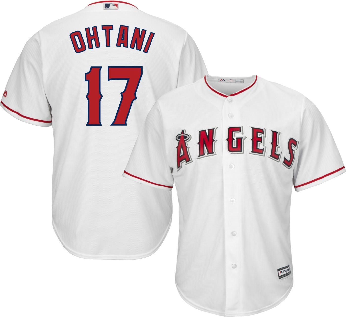 Majestic Men's Replica Los Angeles Angels Shohei Ohtani #17 Cool Base Home White Jersey