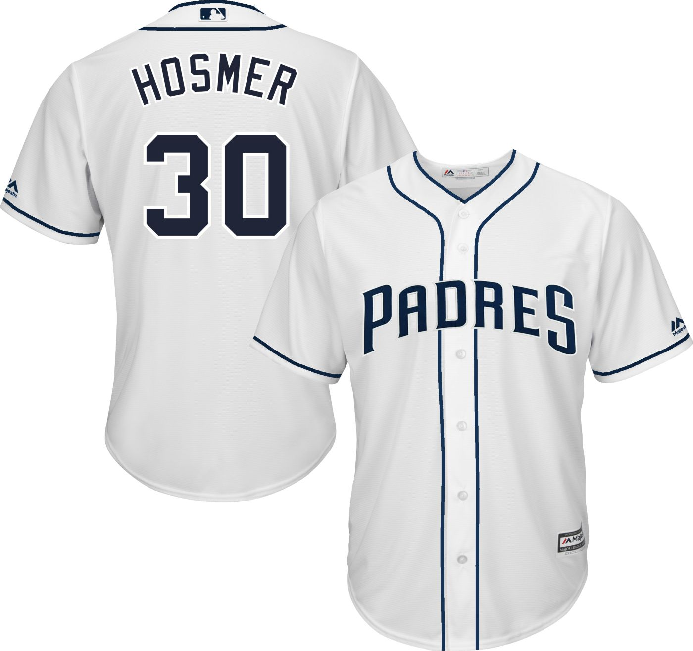 Majestic Men's Replica San Diego Padres Eric Hosmer #30 Cool Base Home White Jersey