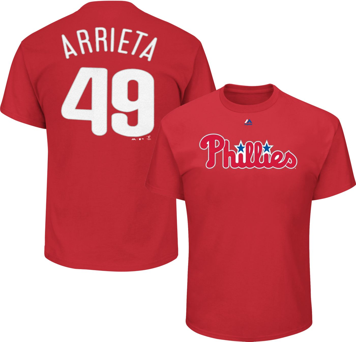 Majestic Men's Philadelphia Phillies Jake Arrieta #49 Red T-Shirt