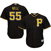 Majestic Men's Replica Pittsburgh Pirates Josh Bell #55 Cool Base Alternate Black Jersey