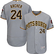Majestic Men's Authentic Pittsburgh Pirates Chris Archer #24 Flex Base Road Grey On-Field Jersey