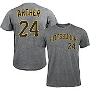 Majestic Threads Men's Pittsburgh Pirates Chris Archer #24 Grey Tri-Blend T-Shirt