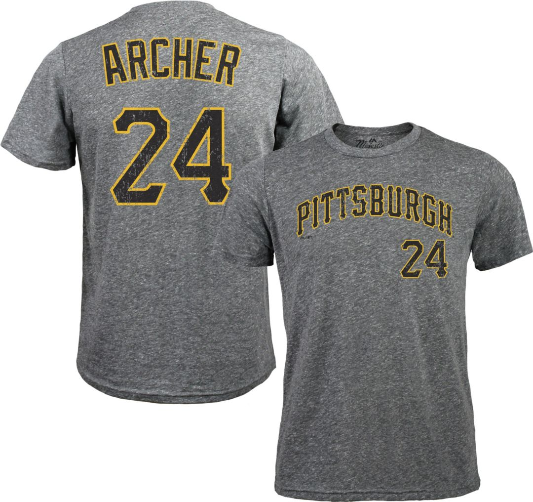 big sale 63e29 07c2a Majestic Threads Men's Pittsburgh Pirates Chris Archer #24 Grey Tri-Blend  T-Shirt