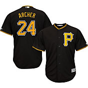 Majestic Men's Replica Pittsburgh Pirates Chris Archer #24 Cool Base Alternate Black Jersey