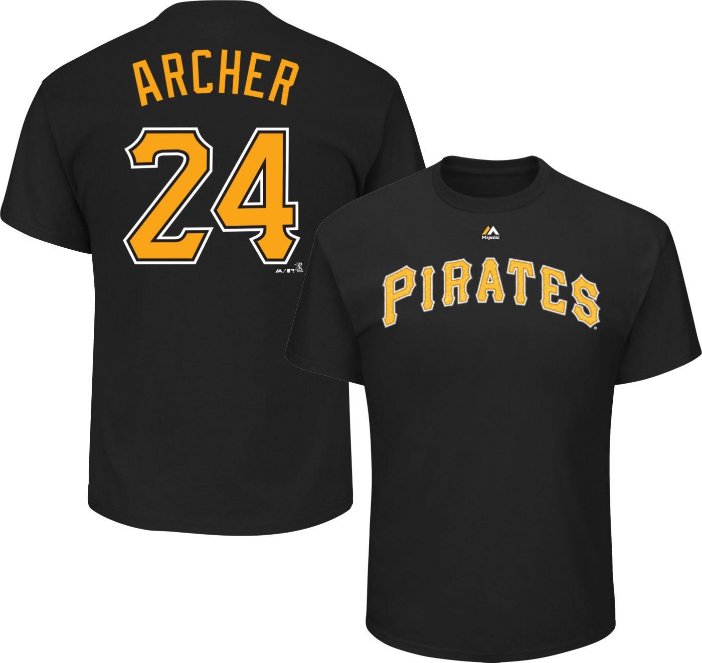 Majestic Men's Pittsburgh Pirates Chris Archer #24 Black T-Shirt