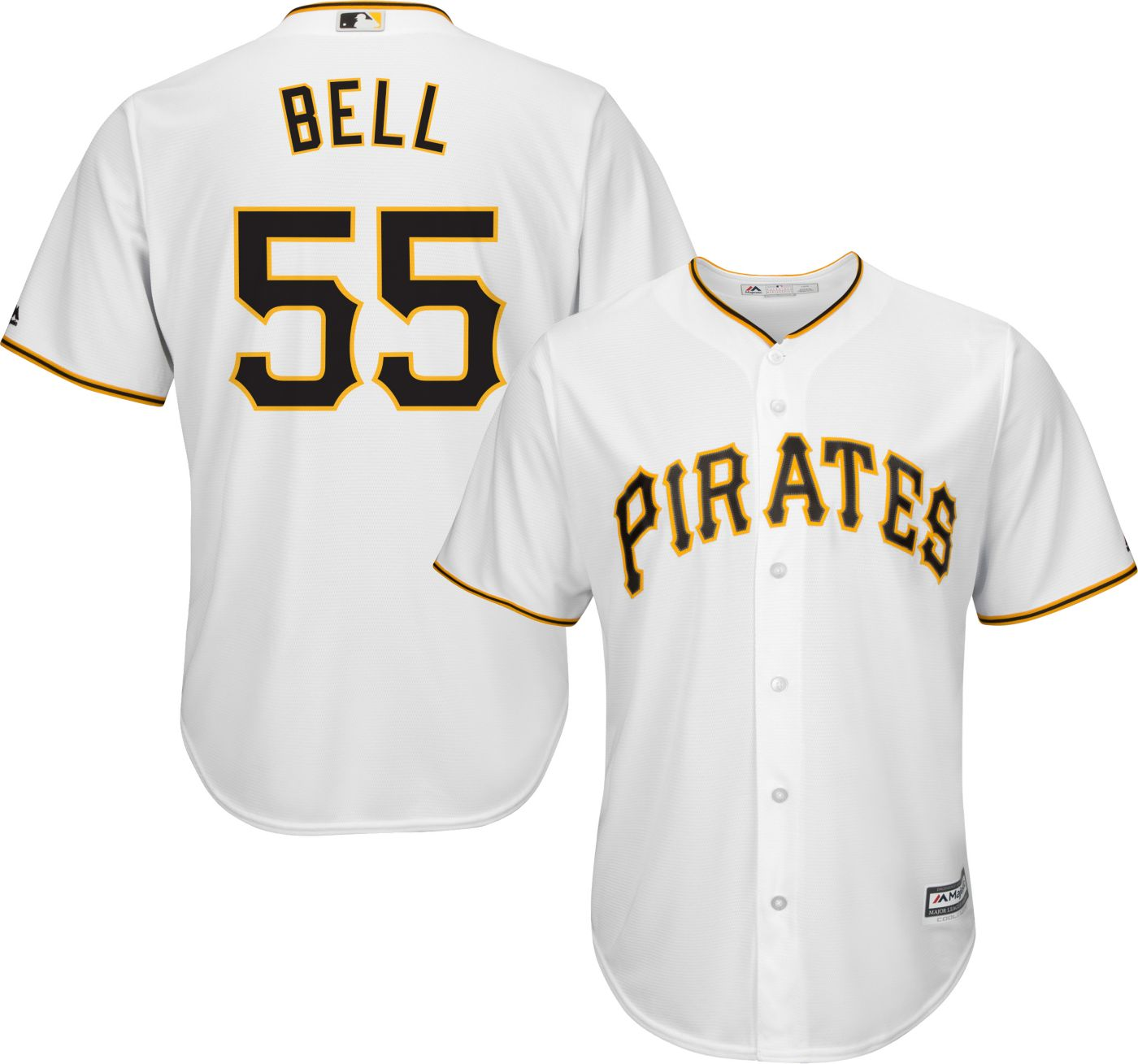 Majestic Men's Replica Pittsburgh Pirates Josh Bell #55 Cool Base Home White Jersey