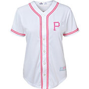 Majestic Youth Girls' Pittsburgh Pirates White/Pink Fashion Jersey