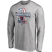 Majestic Men's 2018 AL Champions Locker Room Boston Red Sox Grey Long Sleeve Shirt