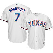 Majestic Men's Replica Texas Rangers Ivan Rodriguez #7 Cool Base Home White Jersey