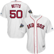 Majestic Men's 2018 World Series Replica Boston Red Sox Mookie Betts Cool Base Home White Jersey