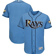 Majestic Men's Authentic Tampa Bay Rays Flex Base Alternate Light Blue On-Field Jersey w/ 20th Anniversary Patch