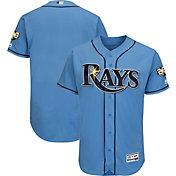 Majestic Men's Authentic Tampa Bay Rays Flex Base Alternate Light Blue On-Field Jersey w/ 20th Anniversary Patch