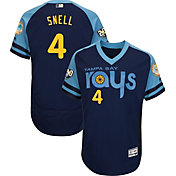 Majestic Men's Authentic Tampa Bay Rays Blake Snell #4 Flex Base Alternate Navy On-Field Jersey w/ 20th Anniversary Patch