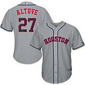 Majestic Men's Replica Houston Astros Jose Altuve #27 Cool Base Road Grey 2018 4th of July Jersey