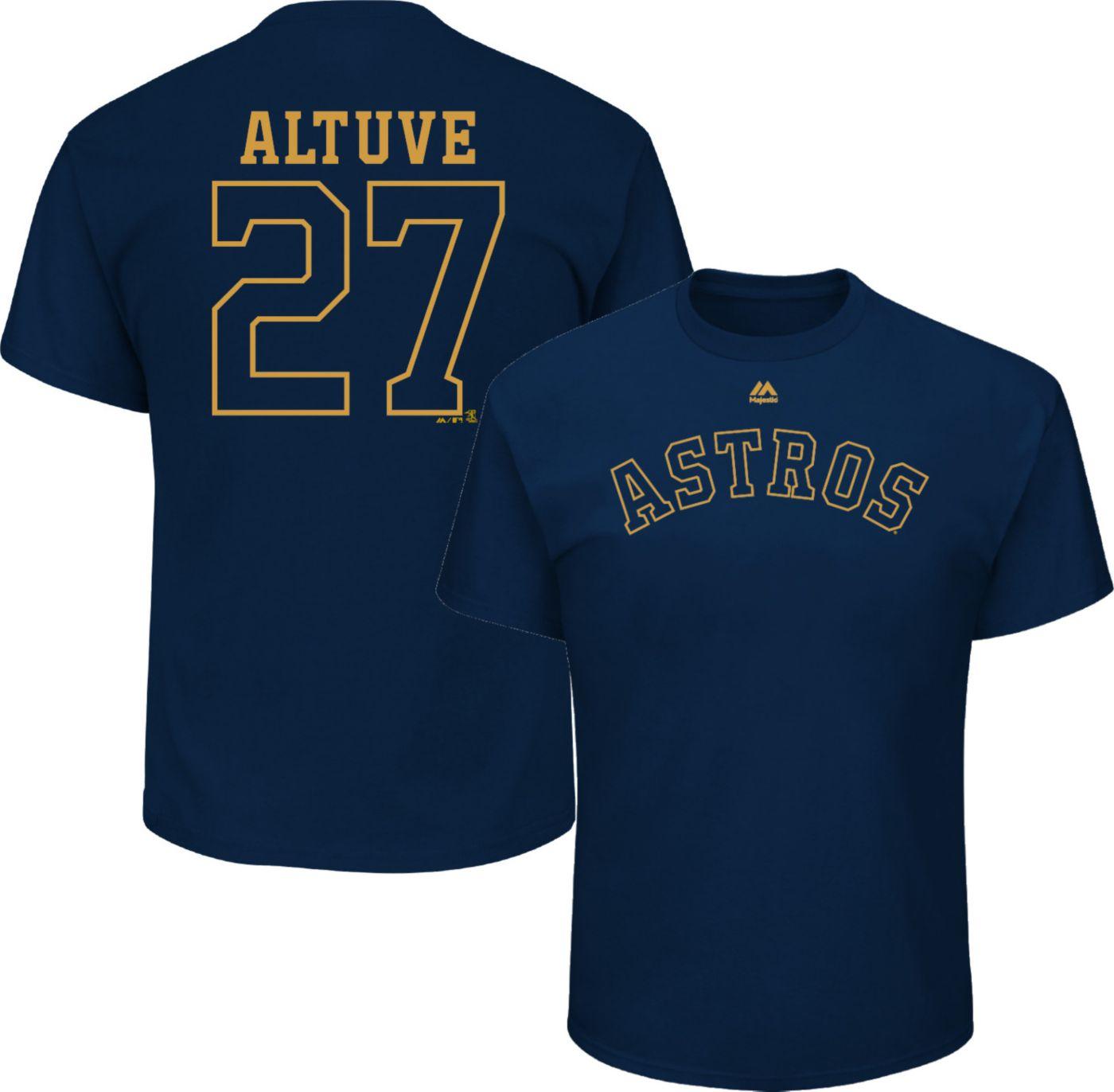 Majestic Men's Houston Astros Jose Altuve #27 Championship Gold T-Shirt