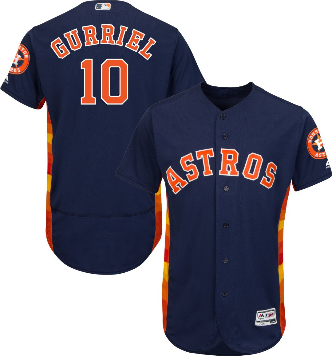 new product c3cb0 ebd75 Majestic Men's Authentic Houston Astros Yuli Gurriel #10 Flex Base  Alternate Navy On-Field Jersey