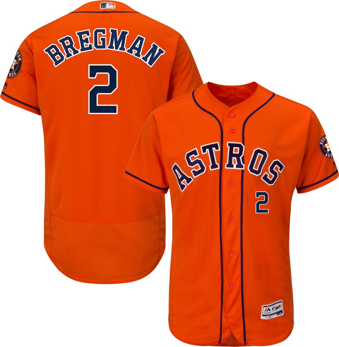 huge discount 10dbf 68dca Majestic Men's Authentic Houston Astros Alex Bregman #2 Flex Base Alternate  Orange On-Field Jersey