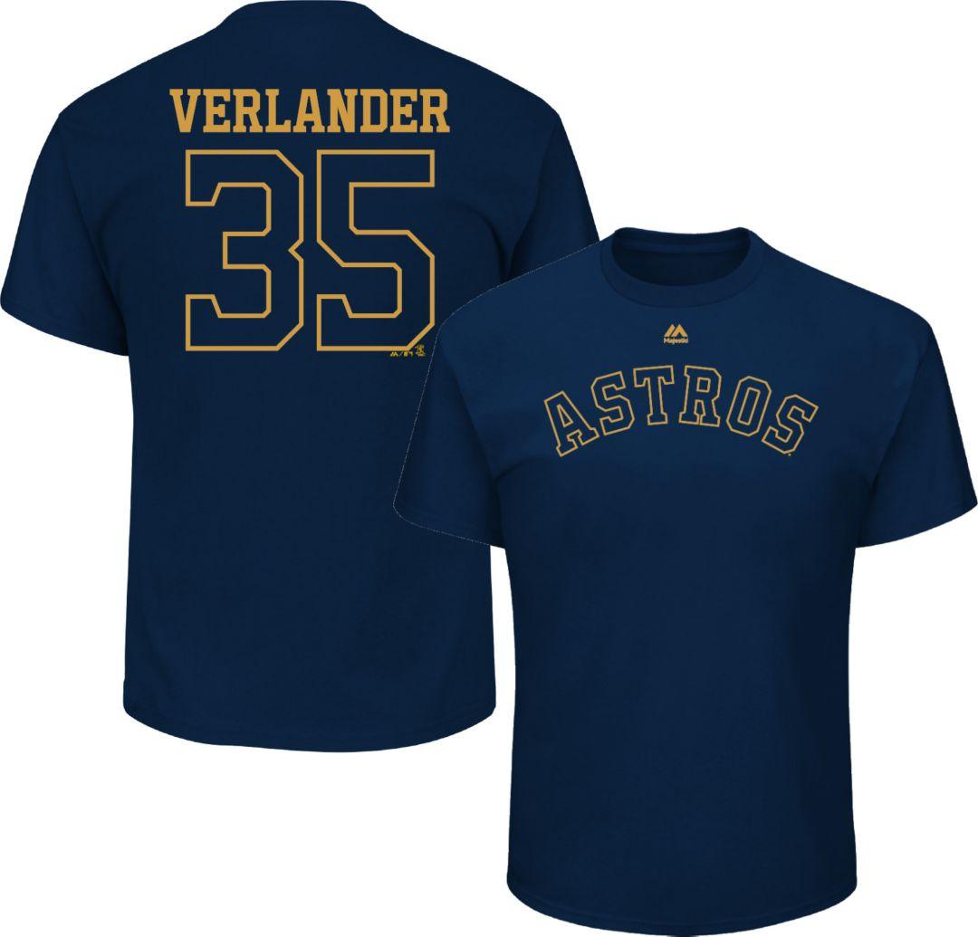 meet c0f7c b852b Majestic Men's Houston Astros Justin Verlander #35 Championship Gold T-Shirt