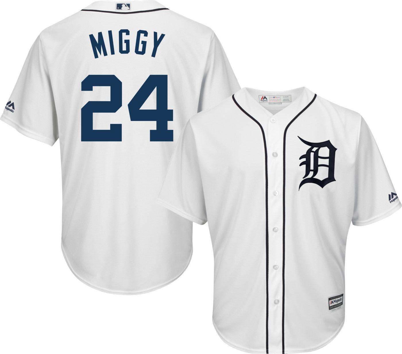 Majestic Men's Replica Detroit Tigers Miguel Cabrera #24 Cool Base Home White Jersey