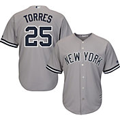 Majestic Men's Replica New York Yankees Gleyber Torres #25 Cool Base Road Grey Jersey