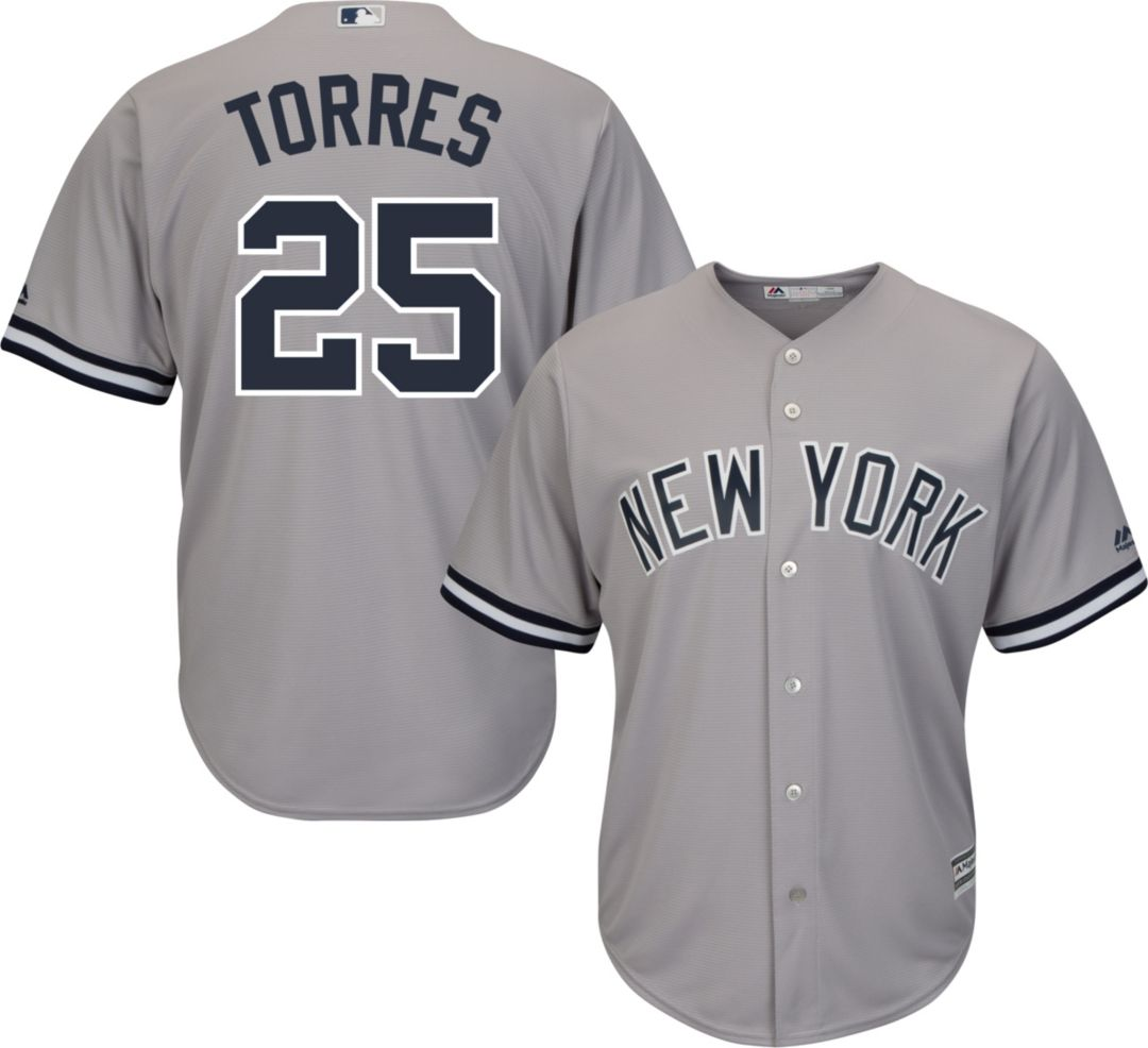 sale retailer dabe9 eb189 Majestic Men's Replica New York Yankees Gleyber Torres #25 Cool Base Road  Grey Jersey