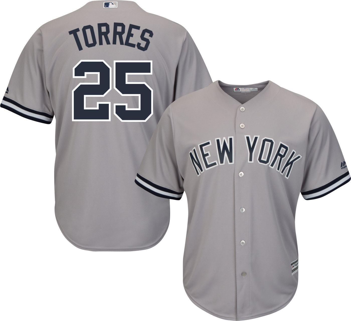 Majestic Men's Replica New York Yankees Gleyber Torres #25 Cool Base Road Grey Jersey