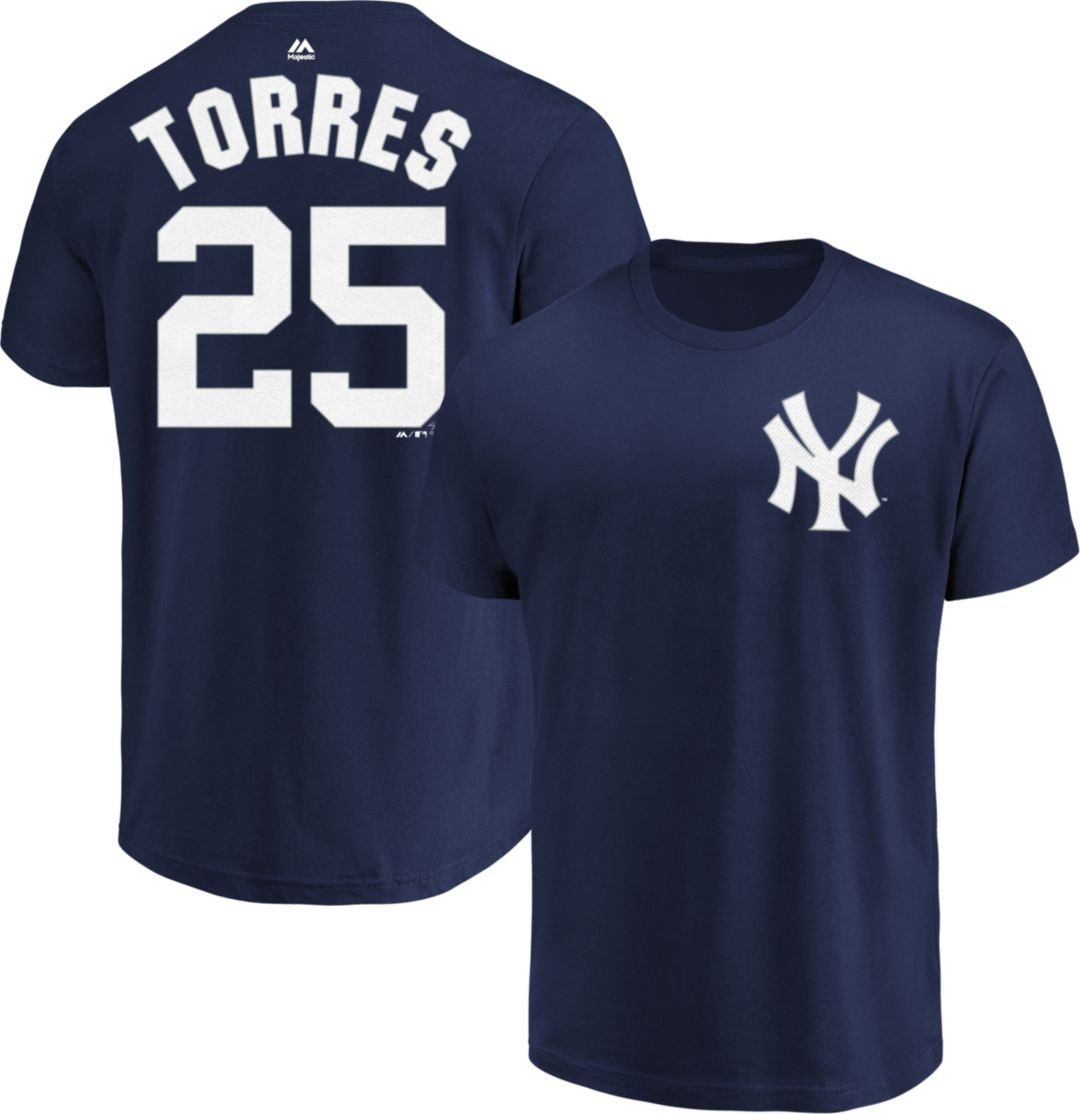 uk availability dd82b aa3f0 Majestic Men's New York Yankees Gleyber Torres #25 Navy T-Shirt