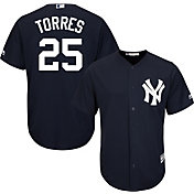Majestic Men's Replica New York Yankees Gleyber Torres #25 Cool Base Alternate Navy Jersey